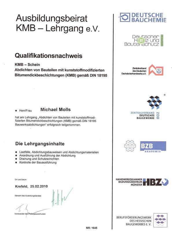 Zertifikat KMB-Schein