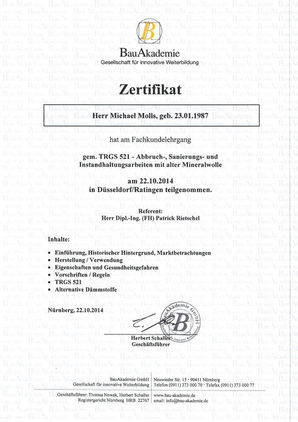 Zertifikat TRGS 521