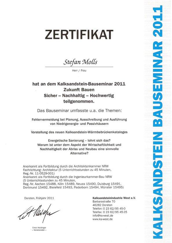 Zertifikat Kalksandstein-Bauseminar